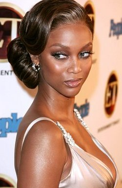 Tyra Banks Sporting a Beautiful Updo Hairstyle